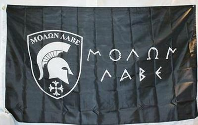 3x5 Black Molon Labe Flag Come and Take It Greek Spartan Indoor Outdoor