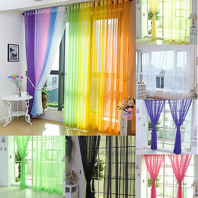Coloful Door Window Curtain Floral Tulle Voile Drape Panel Sheer Scarf Valances