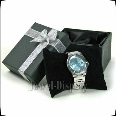 10 Black Gift Boxes Watch Bracelets Silver Ribbon Crystal Case  8 x 9 x 5.5 (cm)