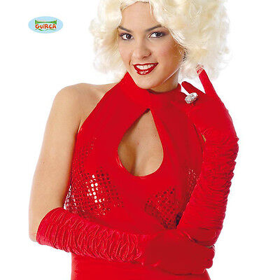 Crumpled Gloves Christmas Party Ladies Red-45Cm