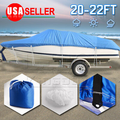 20 21 22 Ft Trailerable 210D Boat Cover Waterproof Beam Heavy Duty 100""