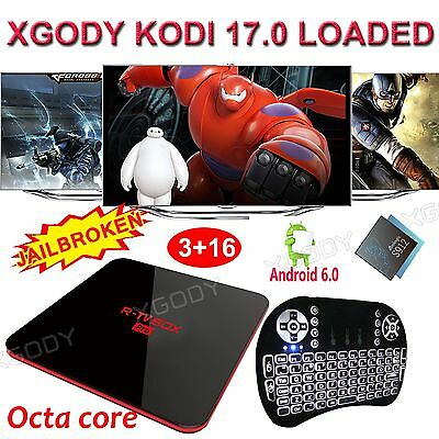 XGODY Android 6.0 3+16G R-TV BOX PRO 8 Core 17.0 Fully Loaded Dual Wifi+Keyboard