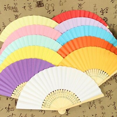 Handmade Chinese Folding Hand Fan Bamboo Paper Fans Wedding Party Decor 15 Color