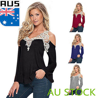 Sexy Women Ladies Off Shoulder Floral Tee Lace Top Long Sleeve Casual Blouse