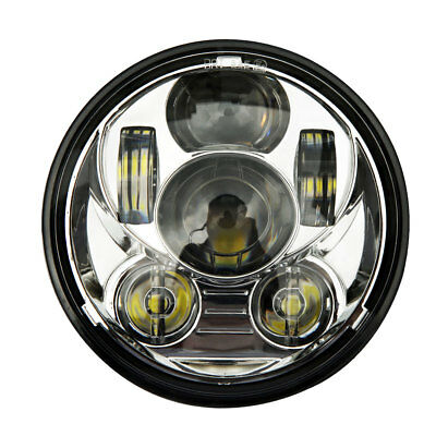 """5-3/4"""" Motorcycle Silver Projector Daymaker LED Light Bulb Headlight for Harley"""