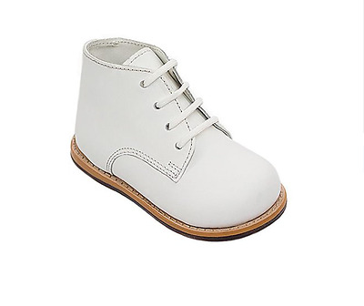 Josmo Walker White Leather Hard Bottom Walkers Lace Up Extra Wide