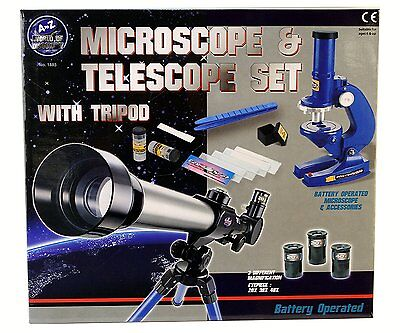 Kids Science Microscope and Telescope Set with Tripod Xmas Toy Gift 01885