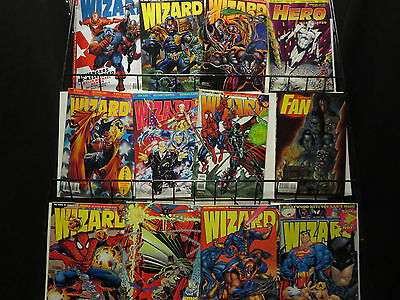 Wizard Magazine lot of 46 + Hero + Overstreet Fan + Cavalcade Catalog 90s + 2009