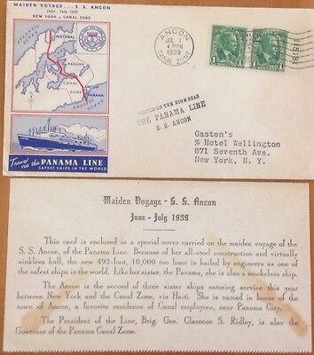 Canal Zone Cover 1939 Maiden Voyage S.s.ancon Panama Line Envelope/insert Card