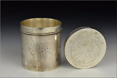 19th Century Chinese Silver Round Form Tea Caddy w/ Dragon