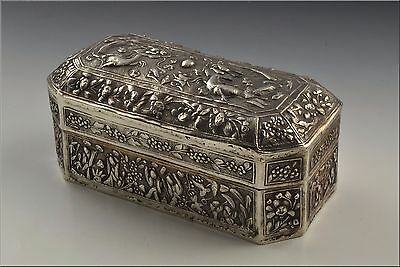 Antique 19th Century Chinese Silver Box w/ Characters & Dragons