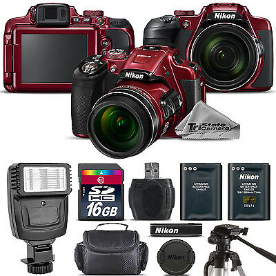 Nikon COOLPIX B700 (RED) 20.2MP 4K Video WiFi NFC Camera 60x Zoom - 16GB Kit