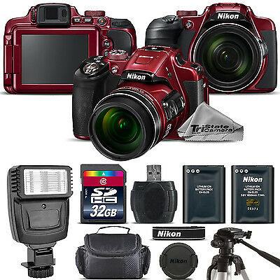 Nikon COOLPIX B700 (RED) 20.2MP 4K Video WiFi NFC Camera 60x Zoom - 32GB Kit