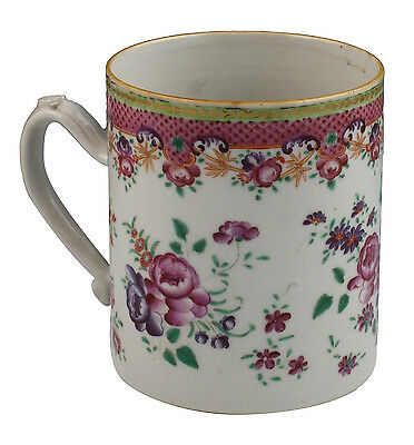 Large 18th / 19th C Chinese Export Porcelain Mug w/ Flowers