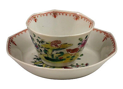 Splendid 18thC Chinese Export Porcelain Cup & Saucer in Bird Pattern