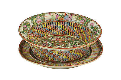 Antique 19th Century Chinese Famille Rose Porcelain Reticulated Basket & Tray