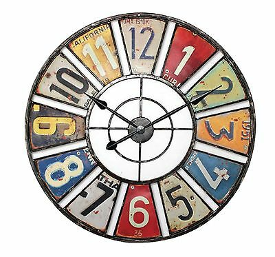 Large Number Metal Distressed Anqtiue Look Stylish Coloured Wall Clock 60cm