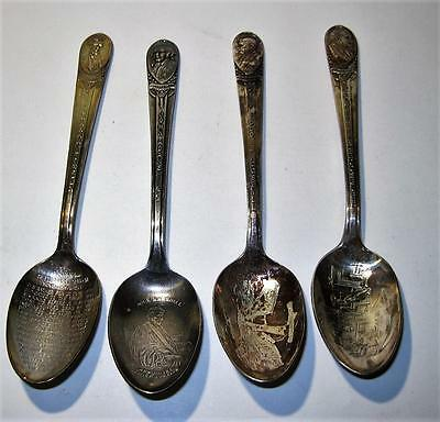 Lot Of 4 Vintage SIlver Plate President Collector Spoons by Wm Rogers MFG Co.