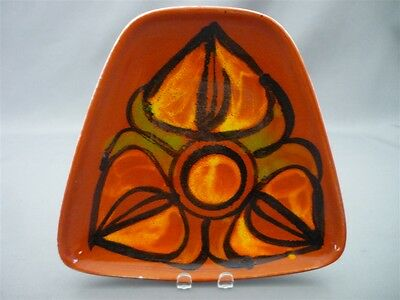 Poole Pottery England Delphis Dolphin Stamp Shape 81 Pin Key Dish Orange MCM