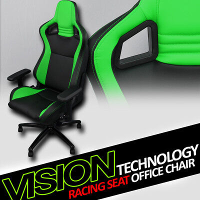 Blk/Green With Stitches PVC Leather Mu Racing Bucket Seat Game Office Chair Vt10