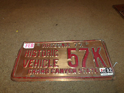 Vintage 1977 Arizona Copper HISTORICAL VEHICLE GRAND CANYON STATE License Plate