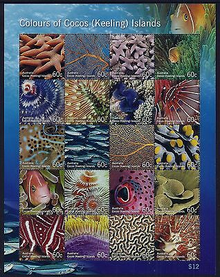 2011 Cocos Islands Colours Of Cocos Marine Life Sheetlet Fine Mint Mnh/muh