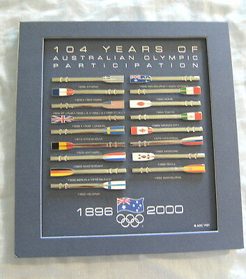 #YY. MOUNTED SET OF 17 AUSTRALIAN OLYMPIC PARTICIPATION PINS, 1896 to 2000