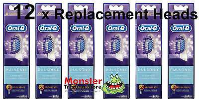 12 X Oral B Pulsonic Electric Toothbrush Replacement Spare Brush Heads Genuine