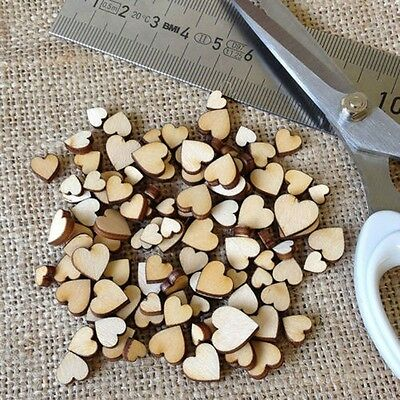 100Pcs 4Sizes Mixed Rustic Wooden Love Heart Wedding Table Scatter Decoration