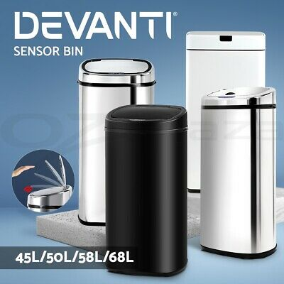 Stainless Steel Bin Rubbish Motion Sensor Waste Automatic Trash 45L/50L/58L/68L