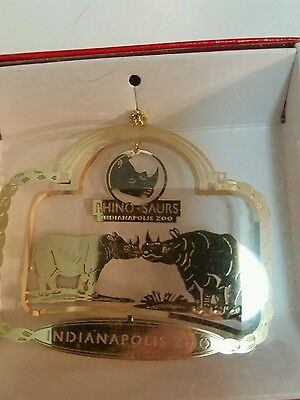 Rhino Indianapolis Indiana  Zoo Brass Christmas Ornament