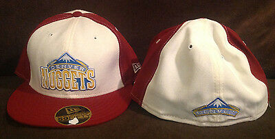 newest collection 11213 089fe Denver Nuggets NEW ERA 59FIFTY Fitted Hat NBA Red White Throwback Size 7 1