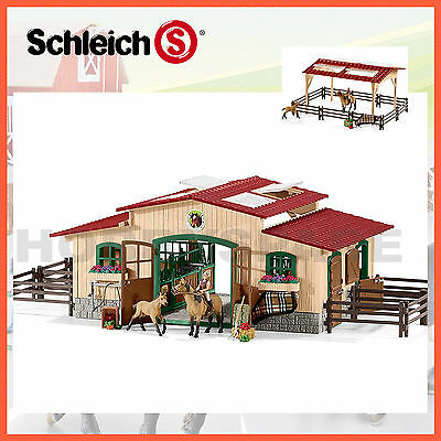 SCHLEICH FARM WORLD HORSE STABLE RIDING CENTRE with HORSES & ACCESSORIES 42195