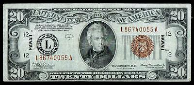 1934 A $20 Dollar Bill Hawaii Issue Fen Brown Seal Note,