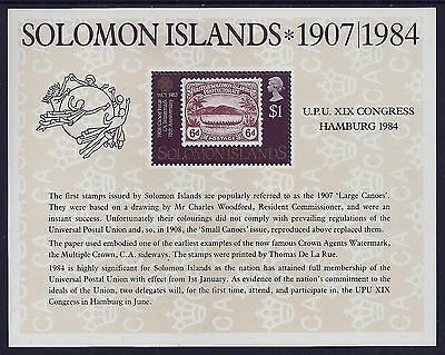 1984 Solomon Islands Upu Congress Hamburg Minisheet Fine Mint Mnh/muh