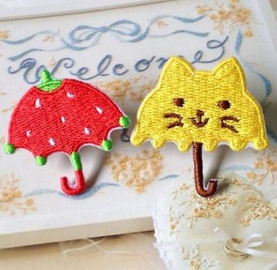 2PC Embroidered Cloth Iron On Patch Sew Motif Applique Cat Strawberry Umbrella ✿