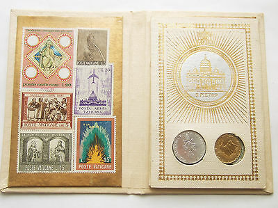 Vatican 1973 Souvenir Display, Pope Paul Vi : 12 Postage Stamps And 2 Coins, Unc