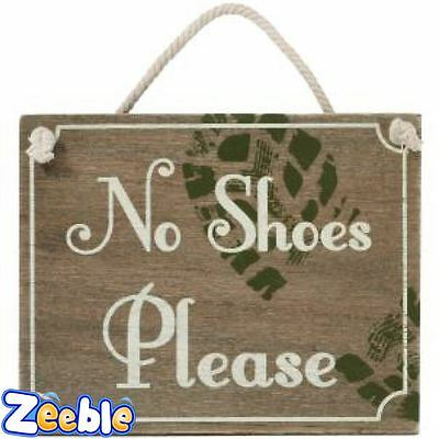 No Shoes Please Wooden Sign with Hanging Rope Retro Vintage Shabby Chic Style