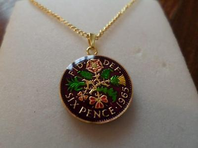 Vintage Enamelled Sixpence Coin 1965 Pendant & Necklace. Xmas / Birthday Present