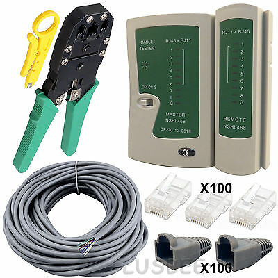 40M RJ45 Cat6 Network Bulk Roll Cable Tester Crimping Tool Connector Boot Kit UK