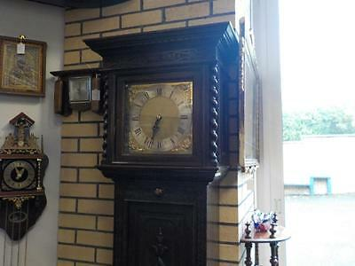 Antique Carved Oak Brass Face Westminster Chime Grandfather Clock Fully Working