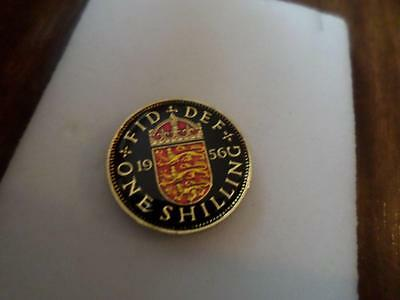 Vintage Enamelled Shilling Coin 1956. Lucky Charm. Birthday Xmas Christmas Gift