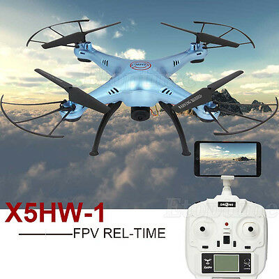 X5HW-1 WIFI FPV With 2.0MP HD Camera 2.4G 4CH 6Axis RC Quadcopter Blue Toy Gift