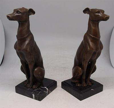 Pair of Bronze Seated Greyhound / Whippet Dogs - Signed BARYE - Marble Bases