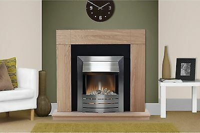 Electric Fire Oak Black Surround Silver Freestanding Wall Fireplace Suite