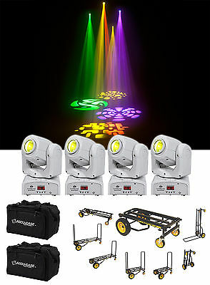 (4) American DJ Inno Pocket Spot Pearl LED Mini Moving Head DMX Lights+Bags+Cart