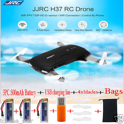 JJRC H37 HD Kamera WIFI FPV RC Quadcopter Selfie Foldable + 3PC 500mAh Batterie