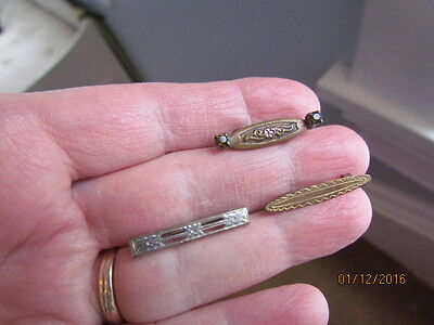 Antique Victorian Deco Gold Fill Bar Pin & Amethyst Rhinestone & Silver Brooches