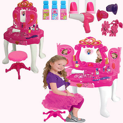 Girls Kids Xmas Toy Glamour Dressing Table Light Sound Stool Vanity Role Play