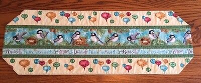 Handmade  CHRISTMAS HOLIDAY TABLE RUNNER featuring Birds & Ornaments